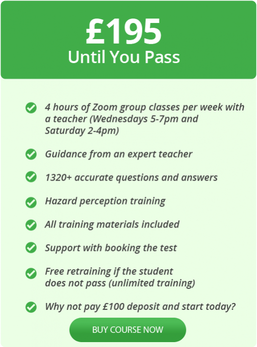 Driving theory group classes online